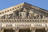 High section of parliament building against clear sky, Berlin, Germany