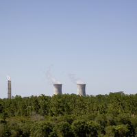 A nuclear power station in distance, forest in foreground