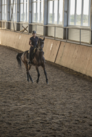 Full length of woman riding horse in training stable