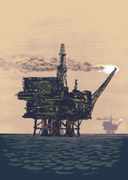 Illustrative image of oil rig drilling in middle of ocean