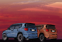 Illustrative image of cars on field during sunset
