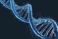 Illustrative image of blue DNA molecule