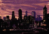 Illustrative image of illuminated modern city at night