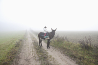 Girl riding donkey on dirt road amidst field during foggy weather