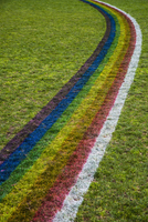 High angle view of rainbow pattern on grassy field