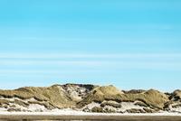 Dunes at beach against blue sky