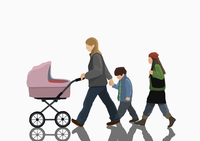 Illustrative image of woman with two children and stroller walking on white background 11016029727| 写真素材・ストックフォト・画像・イラスト素材|アマナイメージズ