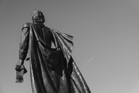Low angle view of Christopher Columbus statue against clear sky