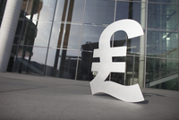 Pound symbol outside office building