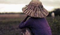 Rear view of woman in bamboo hat sitting on field, Bago region, Myanmar