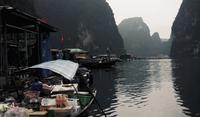 Market boats at Halong bay, Vietnam