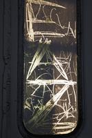 Scribbling on glass window