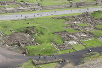High angle view of people visiting Teotithuacan