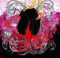 Illustration of black rose amidst colorful design