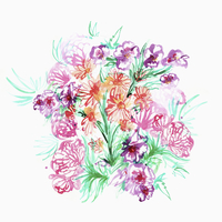 Illustration of beautiful flowers on white background
