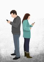 Illustration of friends text messaging through mobile phone while standing back to back against whit