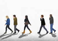 Illustration of people using mobile phones while walking on street against clear sky