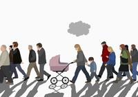 Illustration of people walking on street against sky