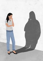 Illustrative image of woman looking at her fat shadow on wall representing worry for obesity 11016030291| 写真素材・ストックフォト・画像・イラスト素材|アマナイメージズ