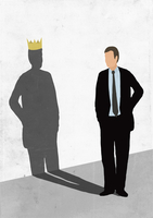 Illustrative image of businessman looking at his shadow wearing crown on white wall representing asp 11016030293| 写真素材・ストックフォト・画像・イラスト素材|アマナイメージズ