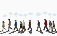 Illustration of people with thought bubbles walking on street against clear sky