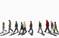 Illustration of crowd walking on street against clear sky