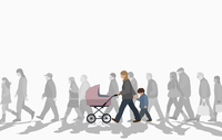 Illustration of family walking with crowd on street against clear sky