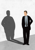 Illustration of businessman looking at his fat shadow on white wall representing obesity