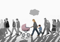 Illustration of family walking with crowd on street against sky