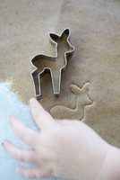 Cropped image of boy making cookie with deer pastry cutter
