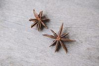 High angle view of star anise on wooden table