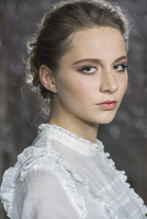 Side view portrait of beautiful young woman