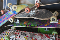 Close-up of skateboards