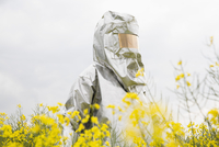 A person in a radiation protective suit standing in an oilseed rape field 11016030875| 写真素材・ストックフォト・画像・イラスト素材|アマナイメージズ
