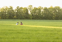 Distant image of girls sitting on grassy field