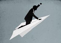 Illustrative image of businessman flying on paper plane