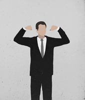 Illustrative image of businessman flexing arms