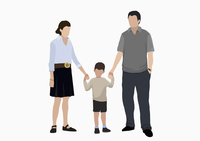 Illustrative image of boy holding hands of parents