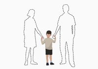 Illustrative image of boy holding hands of missing parents over white background