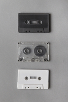 Audio cassette tapes over gray background