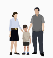 Illustrative image of parents consoling injured son over white background