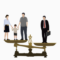 Illustrative image of businessman and family on weight scale