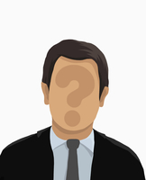 Illustrative image of businessman with question mark on face over white background