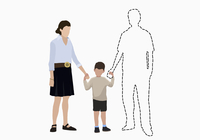 Illustrative image of family holding hands of missing father over white background