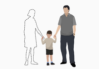 Illustrative image of family holding hands of missing mother over white background