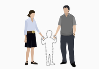 Illustrative image of parents holding hands of missing son over white background