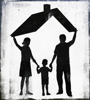 Illustrative image of parents with son standing under roof representing home ownership