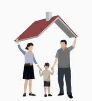 Illustrative image of parents with son standing under roof representing home ownership 11016031088| 写真素材・ストックフォト・画像・イラスト素材|アマナイメージズ