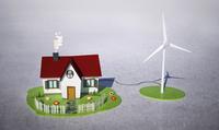 Illustrative image of house with wind turbine