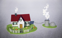 Illustrative image of house with biogas plant